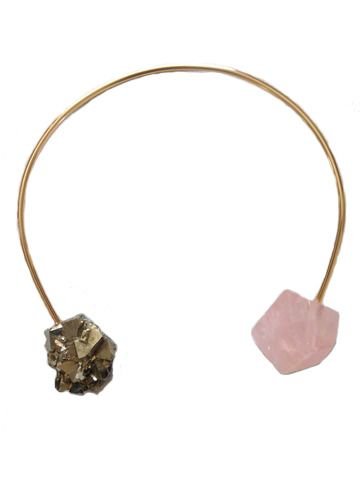 "Get in on the raw stone trend with this eye catching necklace.  Beautiful geometric cut rose quartz paired with glittering pyrite on 14k Gold plated wire make a piece that is guaranteed to draw attention wherever you go.  Available in 12"" or longer 16"" length. This new stone for 2014 is a limited edition run of 12 pieces.    Seraphine Design embodies natural sophistication with modern jewelry that has a timeless look.  Since inception in 2012 our designs have found a place in the collections…"
