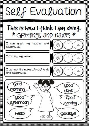 Greetings - self assessment and cover escolar tareas Pinterest