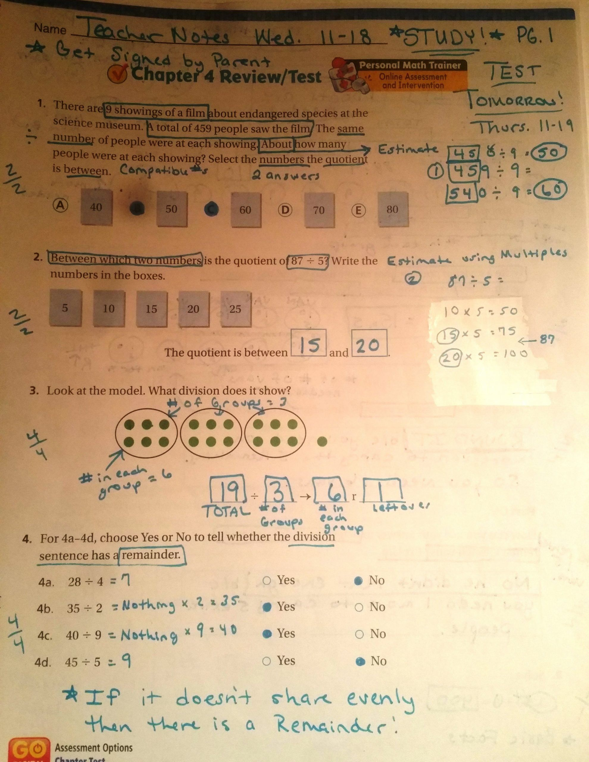 4th Grade Math Review Worksheets Chapter 4 Final Test
