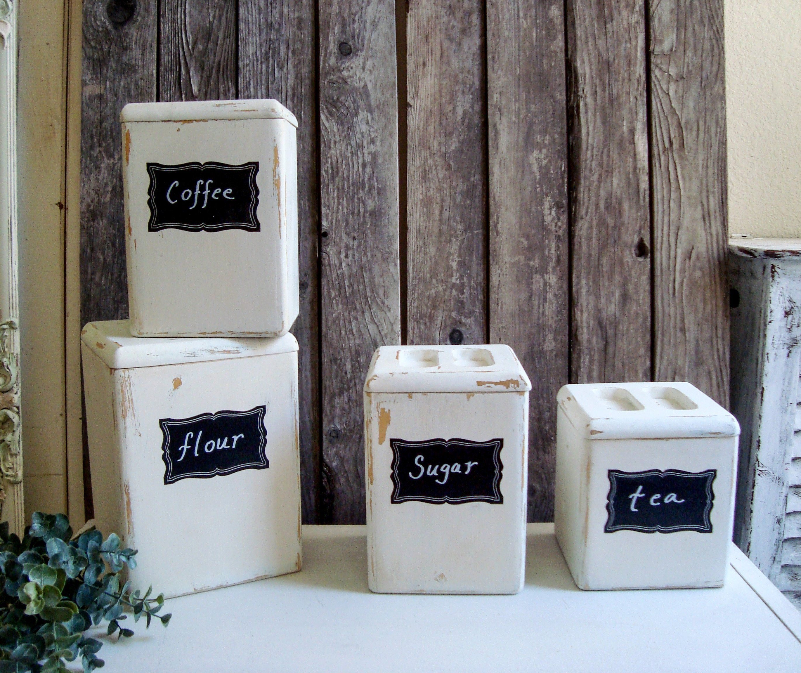 Farmhouse Wooden Canister Set Shabby Chic Canister Set Antique White Food Storage Boxes Coffee Tea Flour Sugar Storage Containers Gift Coffee Storage Containers Shabby Chic Canister Set Sugar Storage