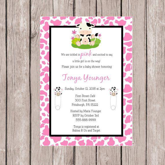 Baby Shower Invitation Invites Cow