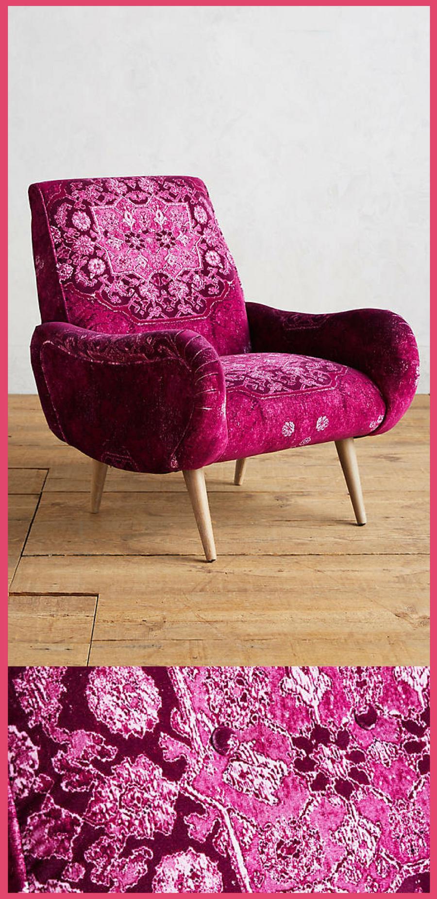 fuschia furniture. Gorgeous Fuschia Rug-Printed Losange Chair. #anthrofave #chair #living # Furniture S