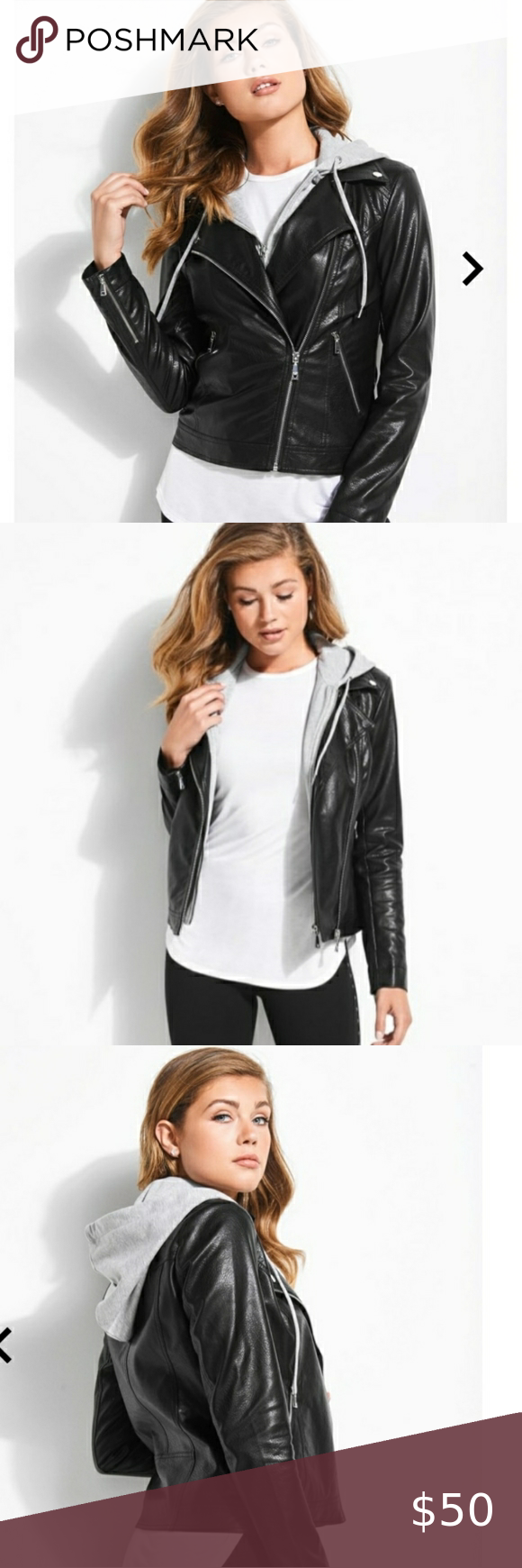 Guess Easton Moto Faux Leather Hoodie Jacket Black Faux Leather Hoodie Leather Hoodie Hoodie Jacket [ 1740 x 580 Pixel ]