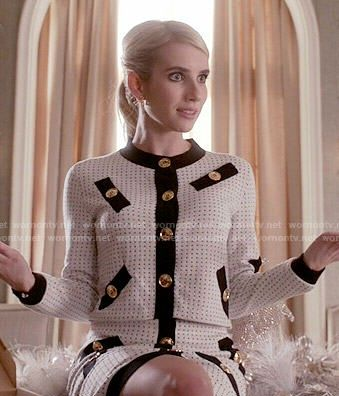 a7b4324ce29e Chanel s white jacket and skirt set with black trim and gold buttons on  Scream Queens.