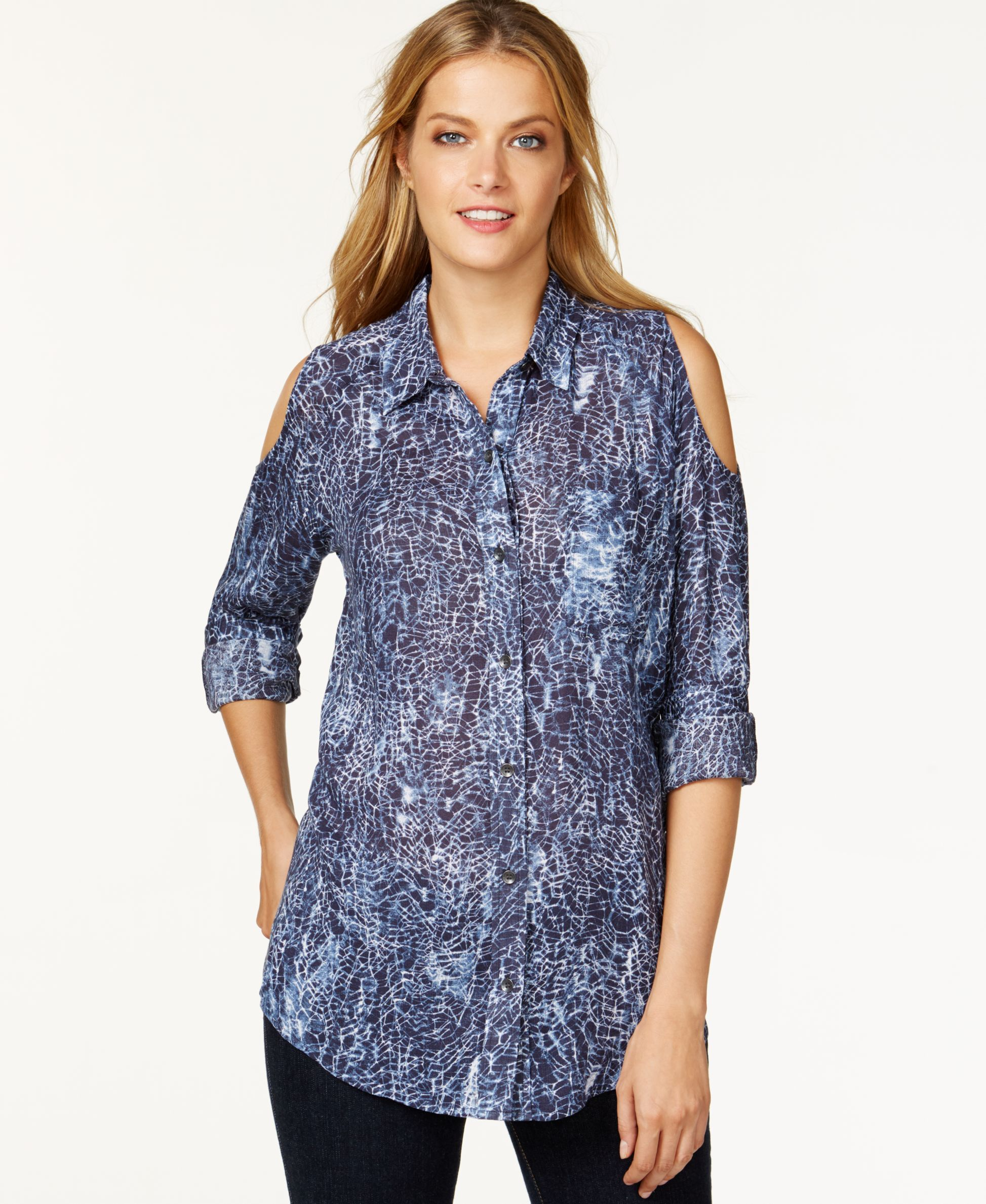 Dkny Jeans Printed Cold-Shoulder Shirt