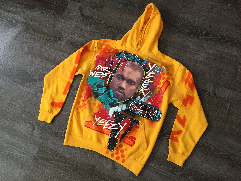 Kanye West Kid Cudi Kids See Ghosts Kanye West Hoodie Yeezus Shirt Yeezy Tshirt Hand Painted Custom Made Album Me Yeezus Hoodie Yeezy Hoodie Kanye West Shirt