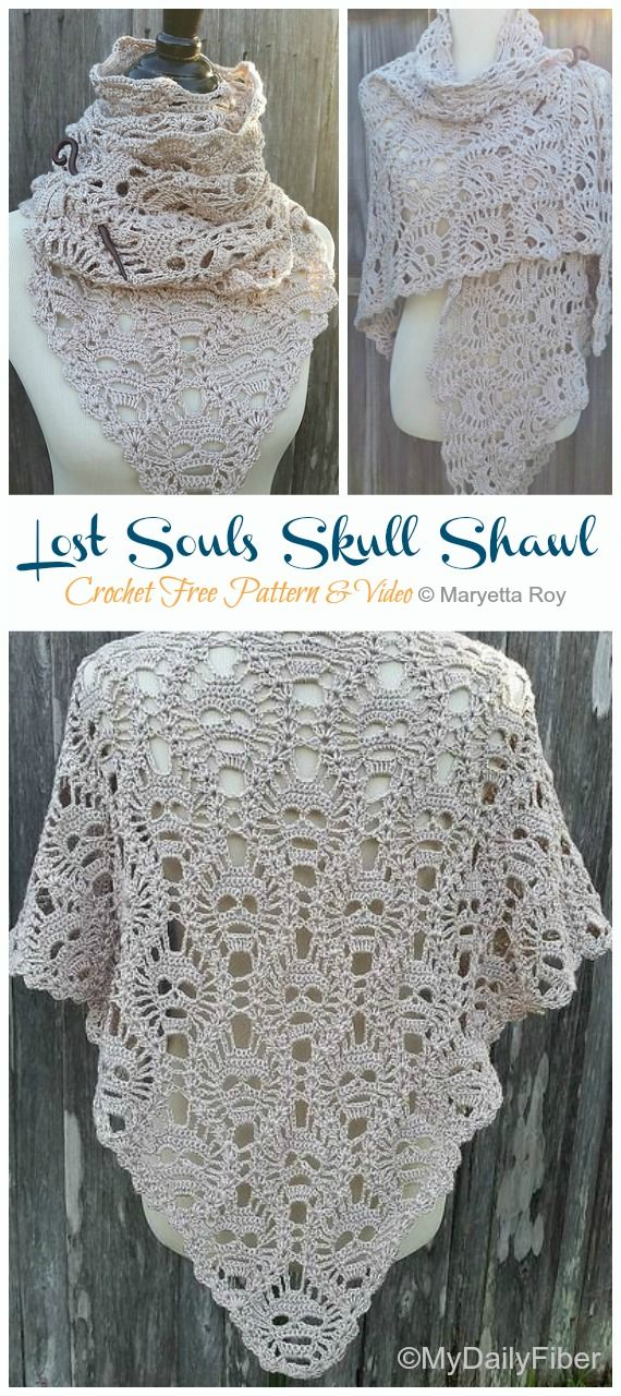 Lost Souls Skull Shawl Crochet Free Pattern [Video] - Crochet & Knitting