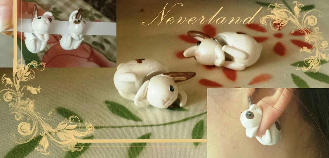 bunny earrings, created in fimo and handpainted. No molds :)  #earrings #bunny #rabbit #fimo #handmade
