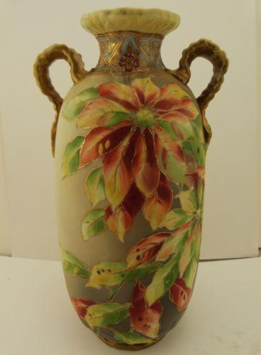 Antique Nippon Porcelain Vase Poinsettia Flowers W Gold Accents