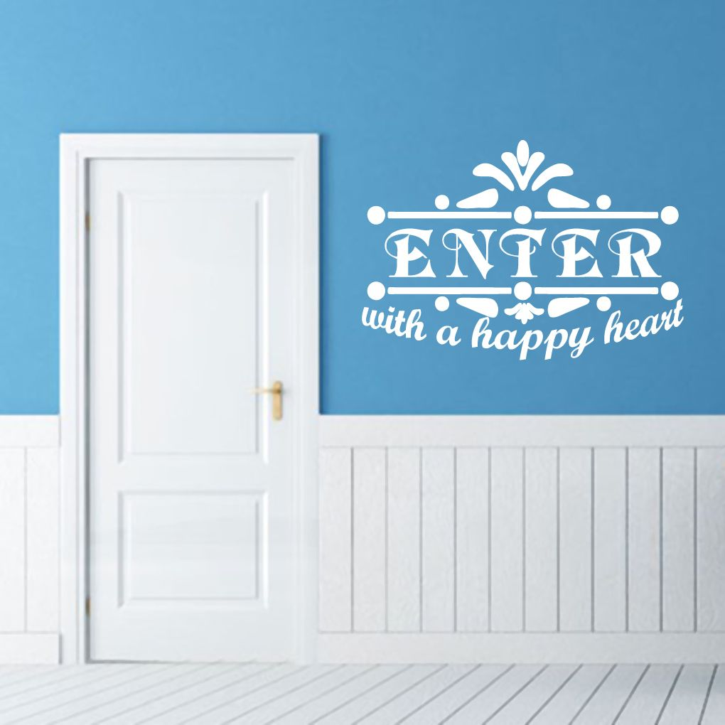 Enter With A Happy Heart Wall Decals Wall Stickers Happy Heart - Wall decals entryway