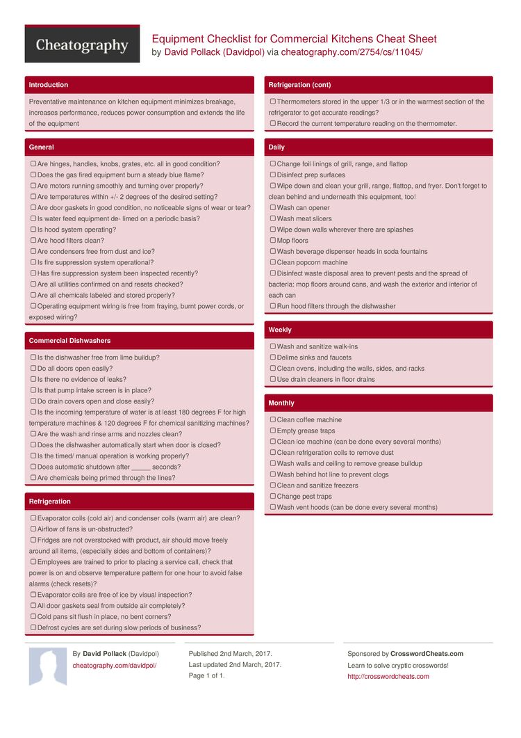 Equipment Checklist For Commercial Kitchens Cheat Sheet From