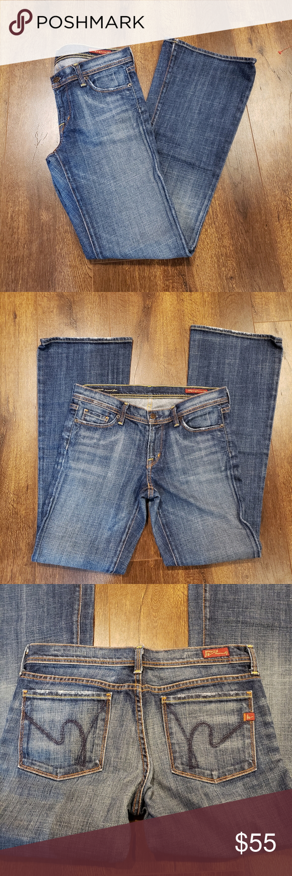 Citizens of Humanity Ingrid #002 Stretch Darling pair of low waist flair Jean's are in great pre-loved condition.  They do have some fraying at the hem the back of of both legs, otherwise they do not appear to be worn.   Inseam (front)-8