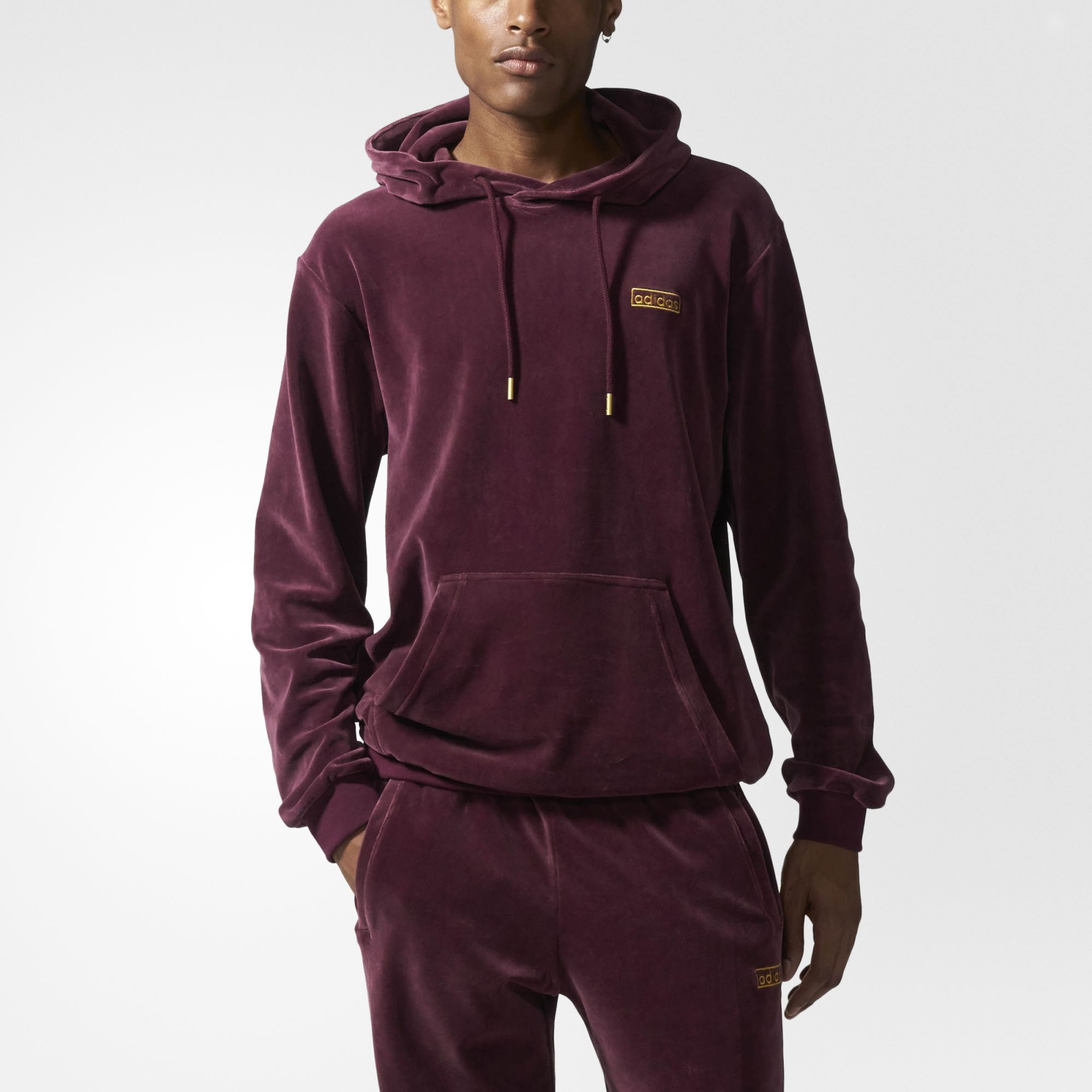 c6186f0498 adidas Velour Hoodie - Brown | adidas US | Clothes | Velvet sweater ...