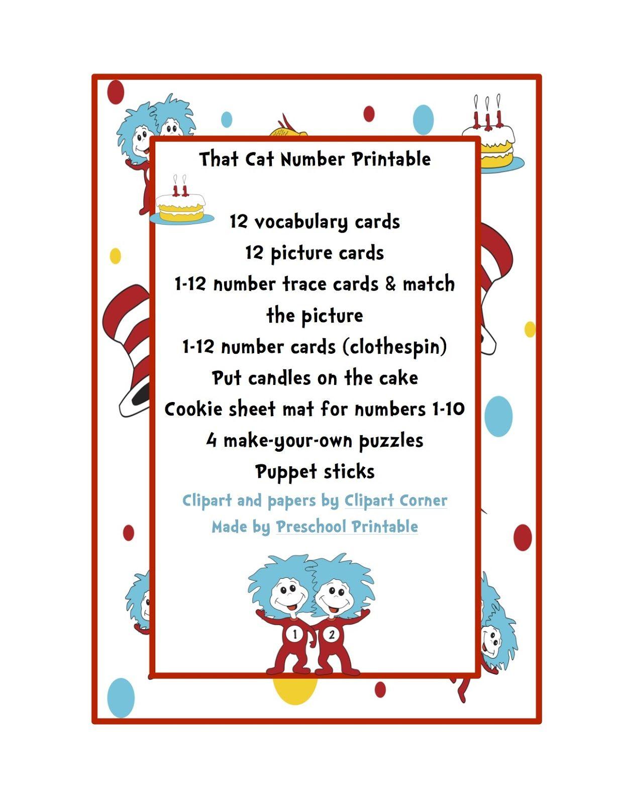 Preschool Printables Dr Seuss