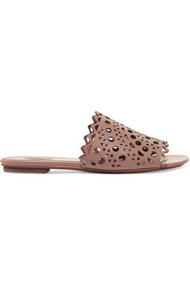 df66a24875723e Alaïa - Laser-cut Leather Slides - Neutral Shoes Flats Sandals