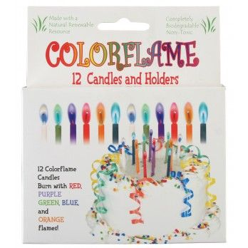 Colorflame Candles | Edmund ScientificAdd a new color element to your party decor with these candles that burn with red, purple, green, blue and orange flames! The 12 included candles are made of clean-burning soy wax and make a colorful addition to any birthday cake.