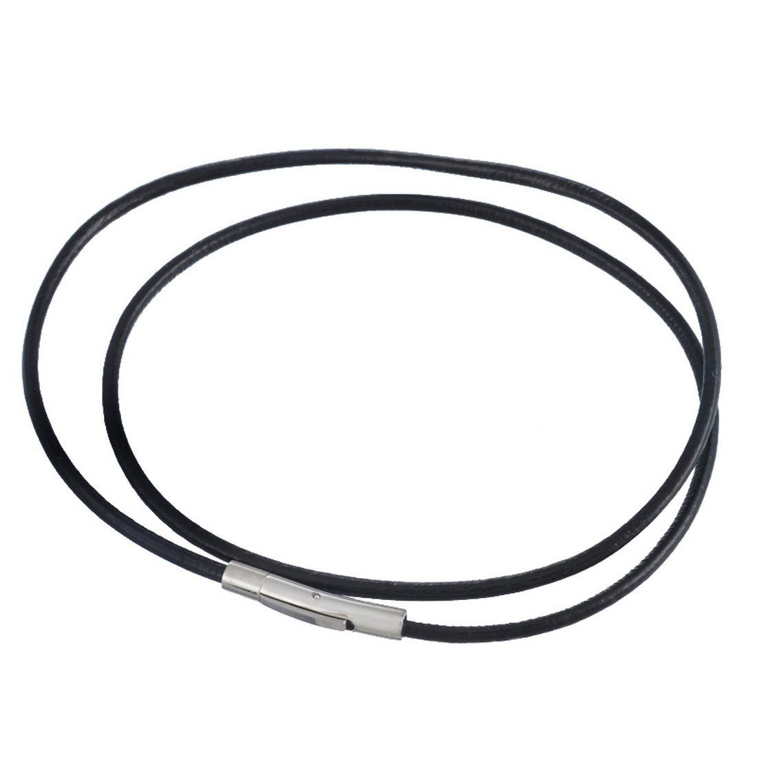 Souarts Black 3mm Leather Cord Chain Necklace With