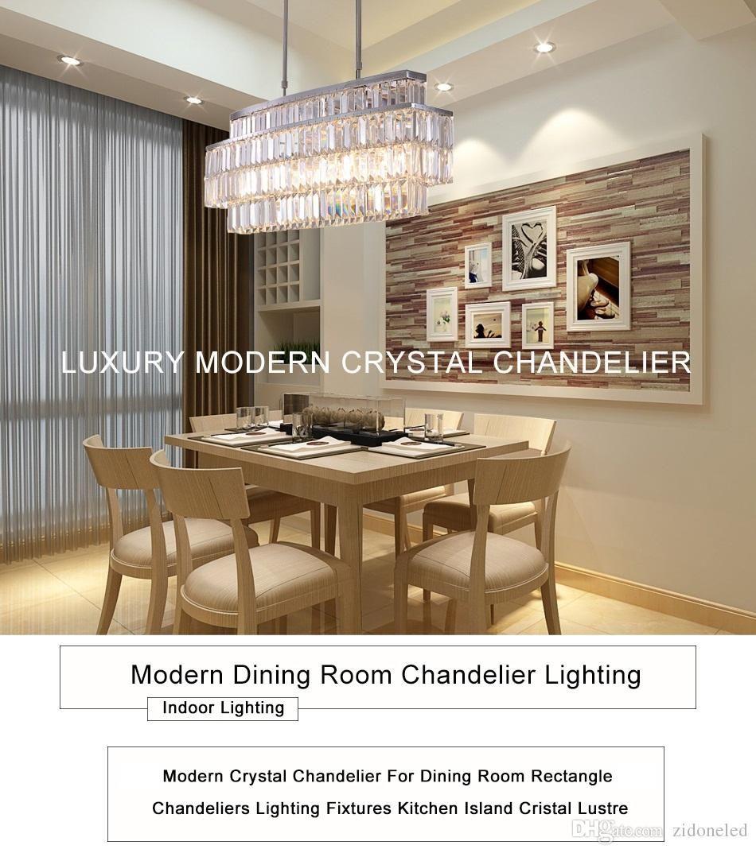 Modern Crystal Chandelier Rectangle Chandeliers Lighting Fixtures