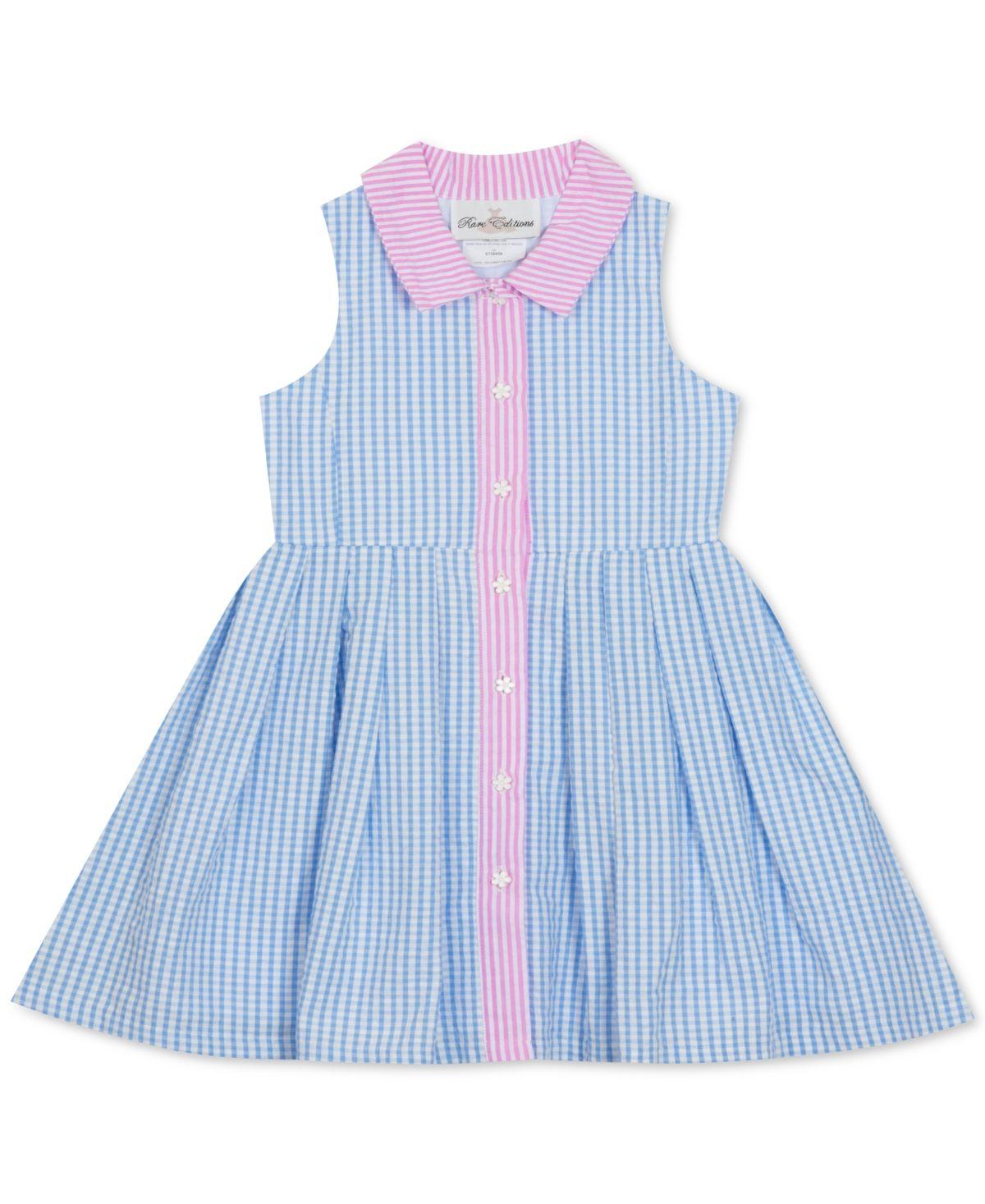 Rare Editions Baby Girls Gingham Seersucker Shirtdress Blue