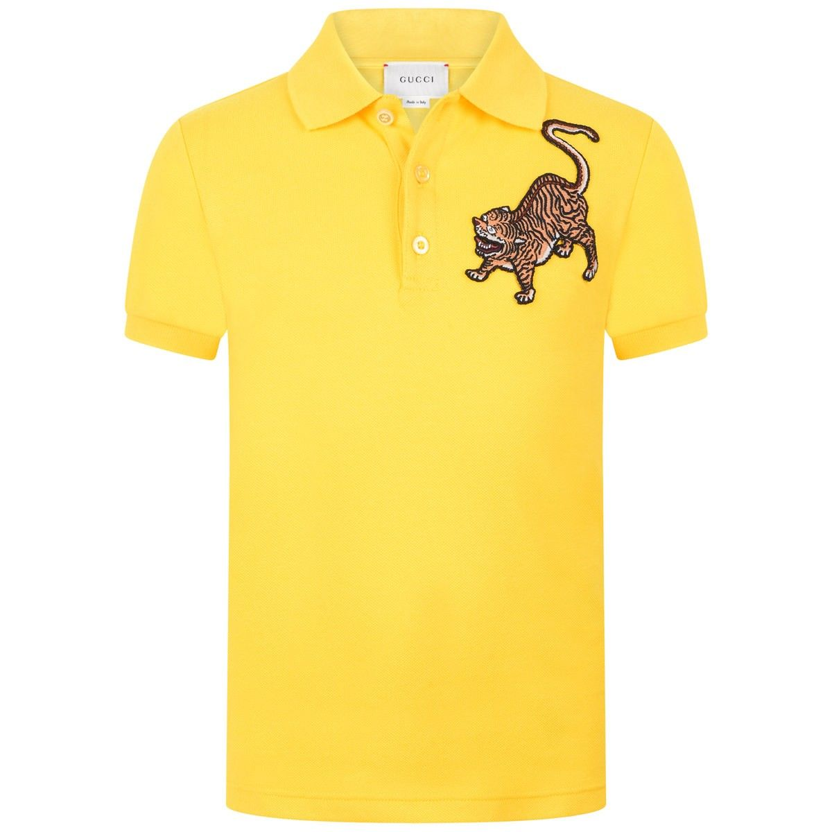 cb6629f03 GUCCI Boys Yellow Tiger Polo Top | Gucci Kids SS16 | Polo, Polo tees ...
