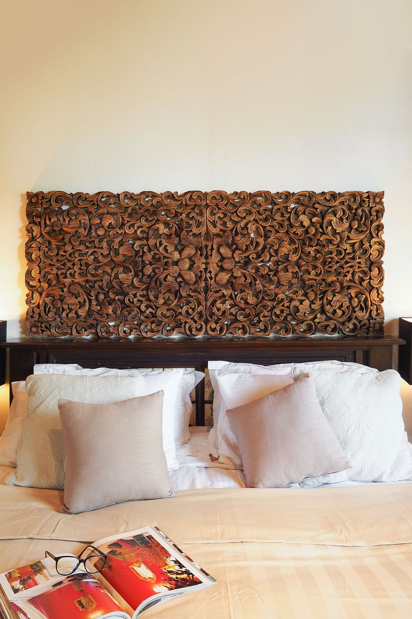 Buy Tropical Frond King Size Headboard Online In 2020 King Size Headboard Carved Headboard Wooden King Size Bed