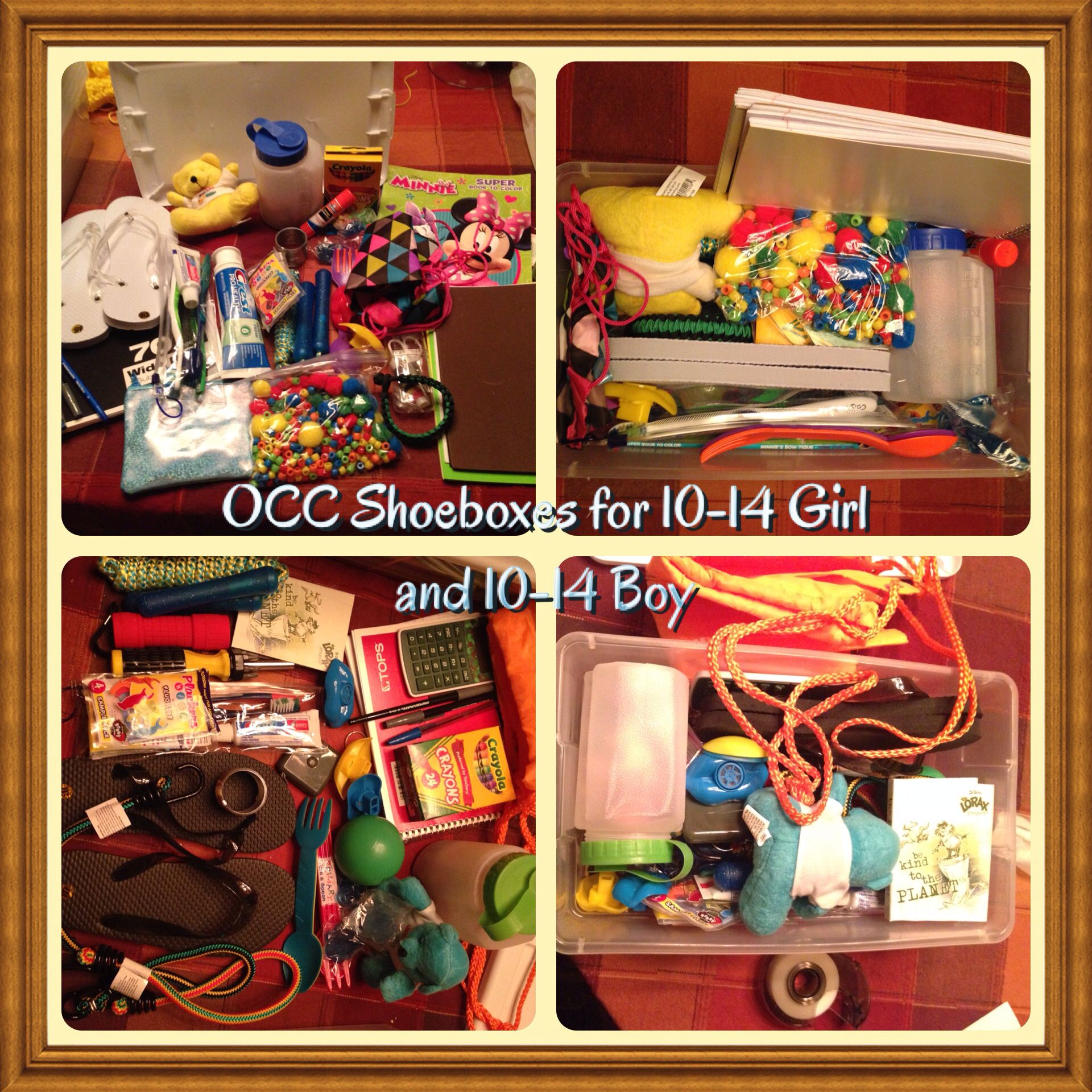 occ shoebox for 10 14 girl and boy just 2 of the 7 packed. Black Bedroom Furniture Sets. Home Design Ideas