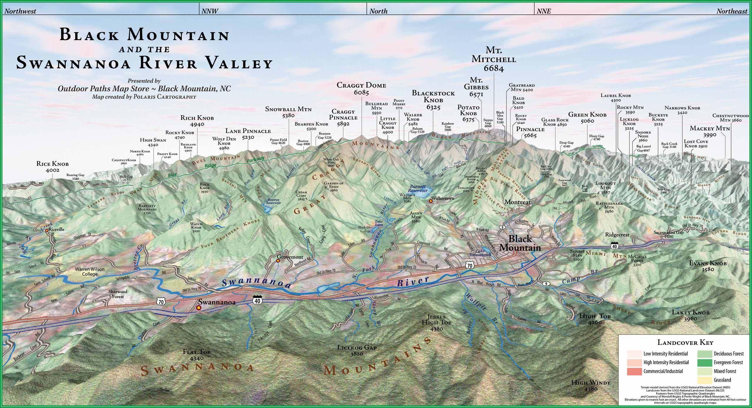 Black Mountain Nc Map Black Mountain Panorama map   Balck Mountain NC • mappery (With