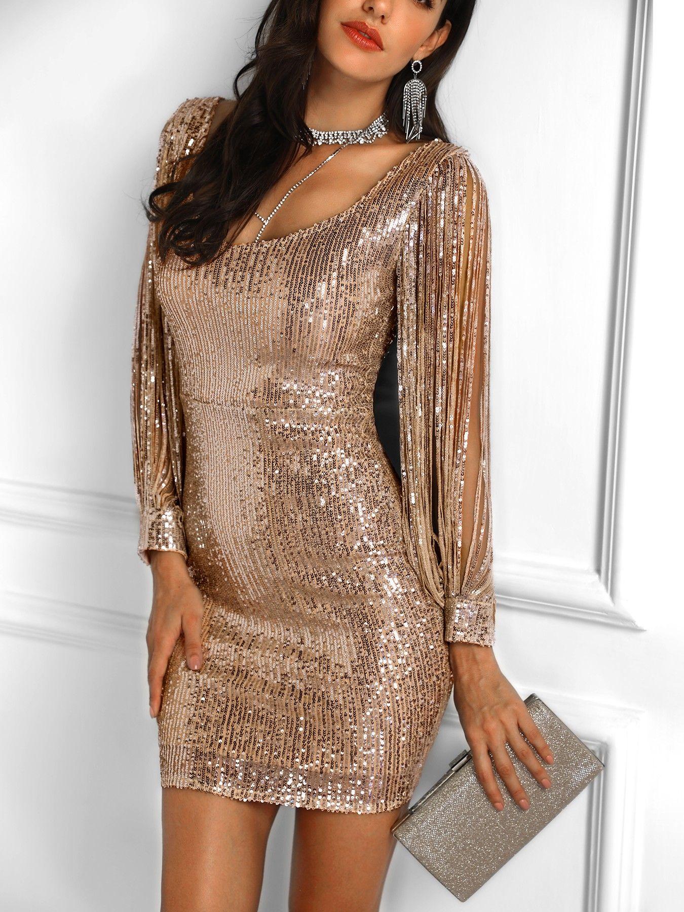 f27eea5502 Tassels Detail Slit Sleeve Sequin Party Dress (S M L XL)  61.99 ...