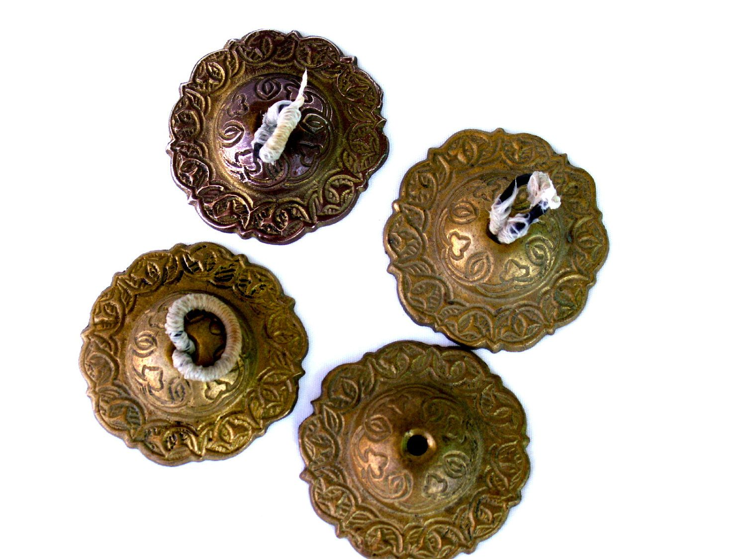 SOLD  Vintage belly dancer Brass Zills FINGER CYMBALS