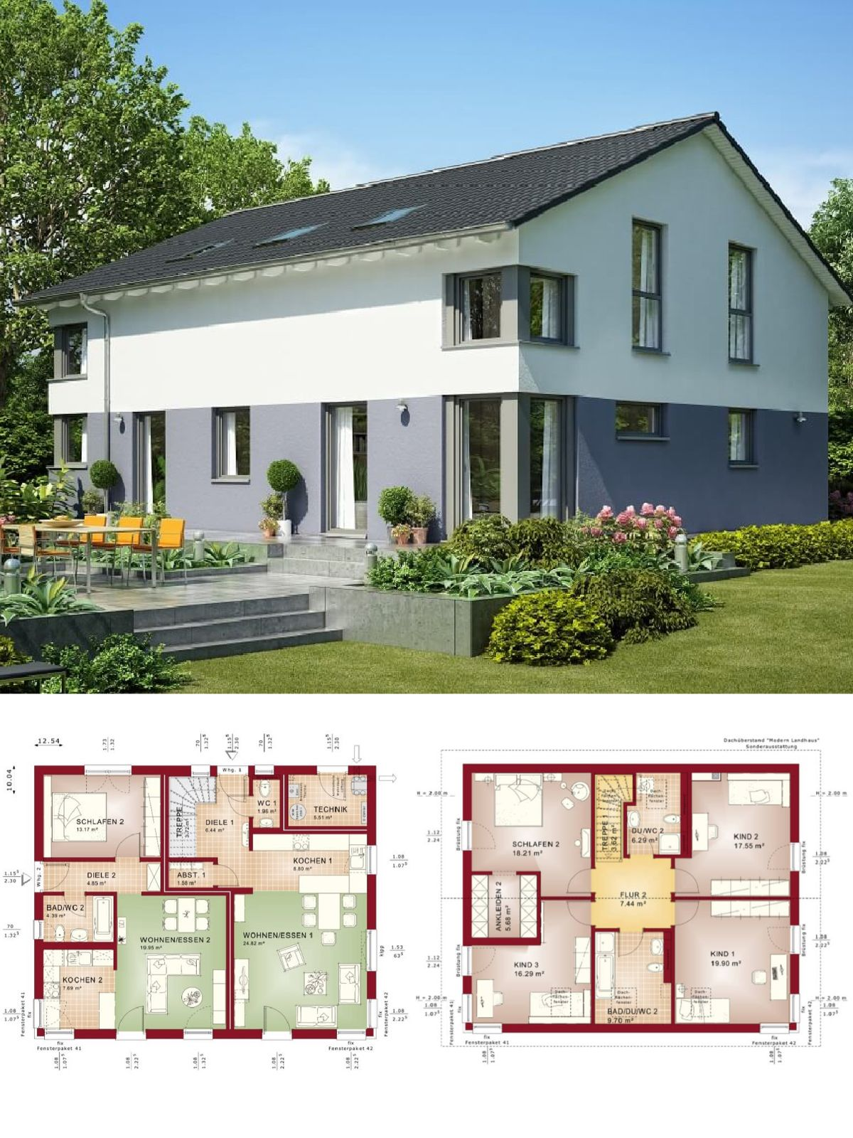 modernes einfamilienhaus mit einliegerwohnung satteldach hausbau ideen grundriss. Black Bedroom Furniture Sets. Home Design Ideas