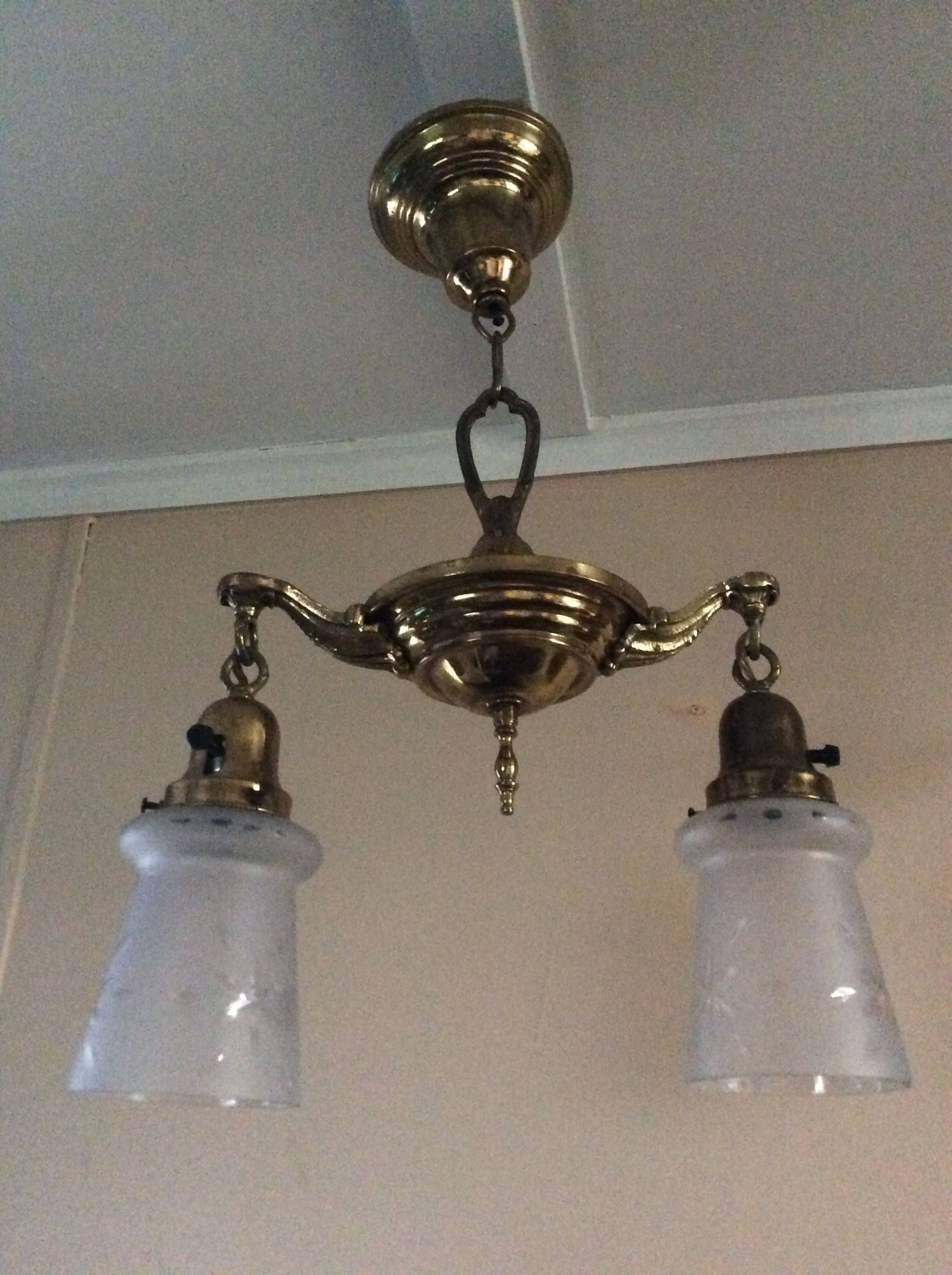 Antique Pan Chandelier 2 Long Frosted Acid Etched Shades 1920s