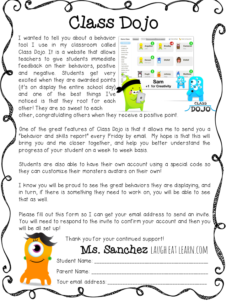 class dojo parent letter by laugh eat learn