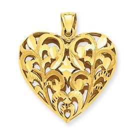 14k yellow gold 3d fancy filigree heart pendant neat ideas 14k yellow gold 3d fancy filigree heart pendant aloadofball Gallery
