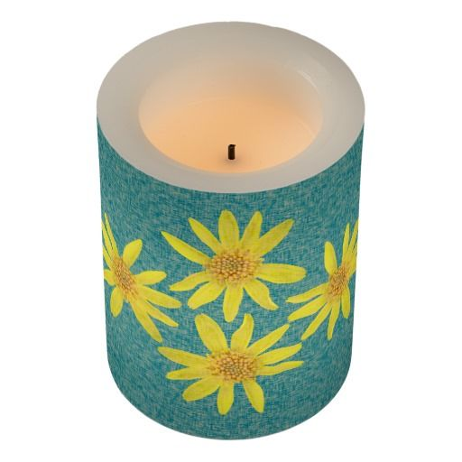 Botanical Yellow Arnica Wildflowers Led Candle