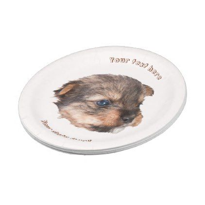 Shop Cute Yorkshire Puppy Face Paper Plate created by Jultud.  sc 1 st  Pinterest & Cute Yorkshire Puppy Face Paper Plate | Yorkshire puppies Puppy ...