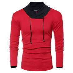 Mens Cotton Stand Collar T-shirt Buttons Breathable Long Sleeve Solid Color  Tops on sale 19450b40b16