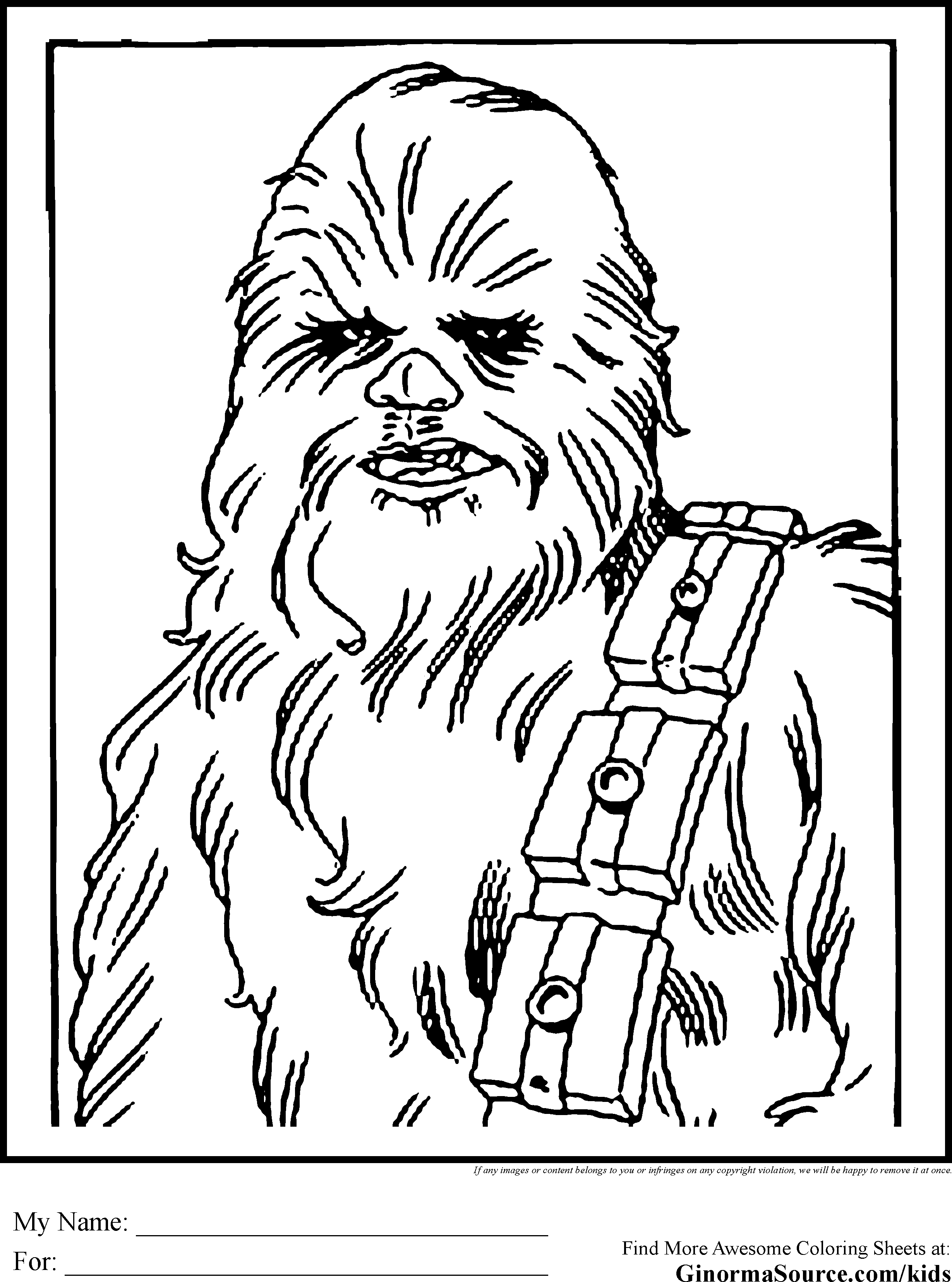 Star Wars Colouring Pages Chewbacca Wookie Star wars