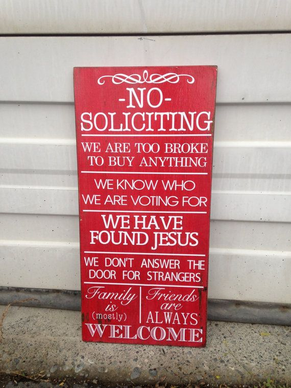 No Soliciting Wooden Sign Shabby Chic 12 X 24 House More Colors Red Blue Green Made To Order