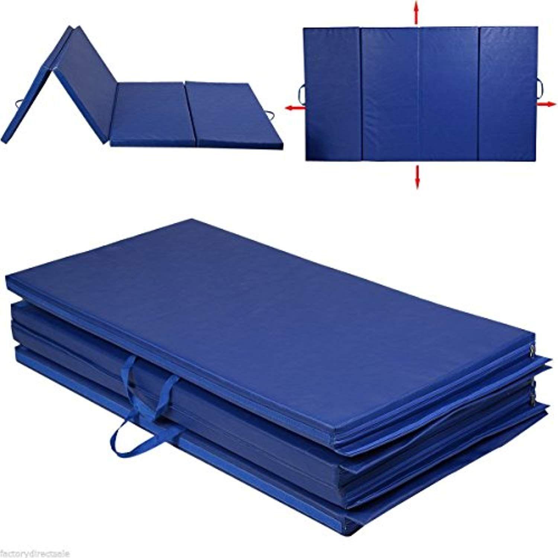 4 X8 X2 Folding Gymnastics Mat Blue Panel Gym Exercise Yoga Mat Pad Aerobics Accessories Gymnastics Equipment Best Home Gym Equipment Gymnastics Mats