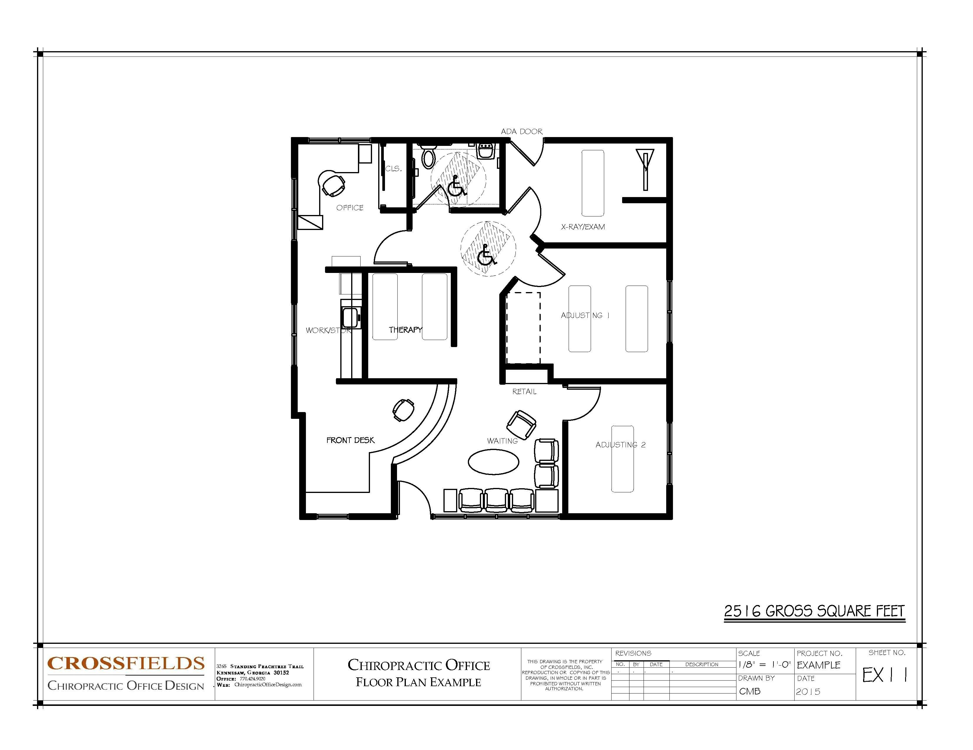 Chiropractic floor plan closed adjusting plus therapy for Chiropractic office layout examples