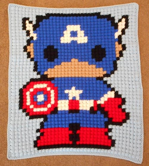 Captain America bobble-stitch lap blanket!