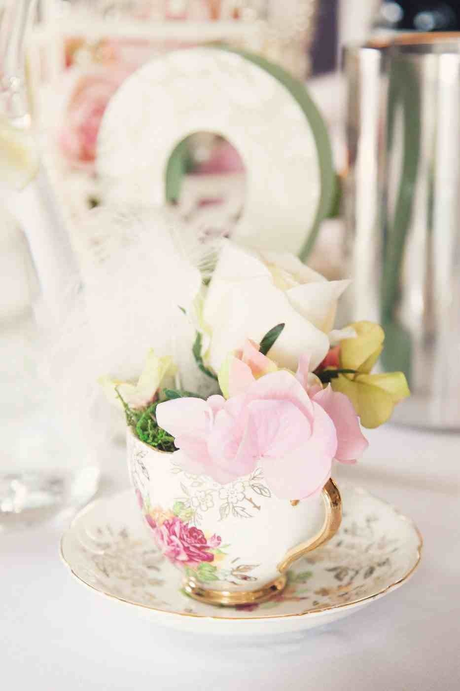 Tea cup wedding table decoration shabby chic dusky pink sage tea cup wedding table decoration shabby chic dusky pink sage green artificial flowers rose feathers pearls junglespirit Gallery