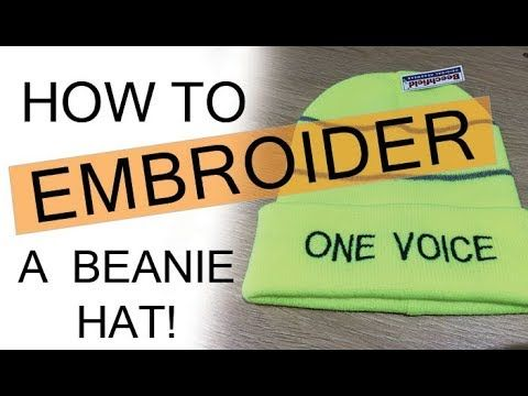 56cc3edd200e06 How to Embroider a beanie hat | You Tuber Merchandise. Embroidery on Woolly Beanie  Hat