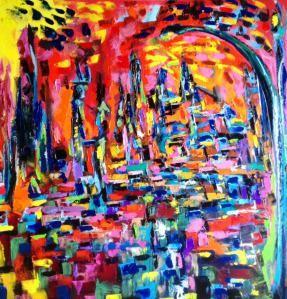 In città al tramonto,olio su tela,80x80cm,vendita di quadri moderni ...