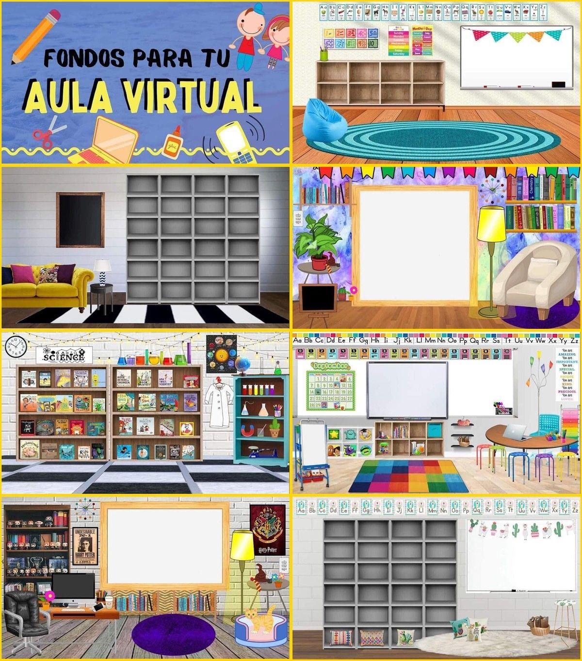 Los Mejores Fondos Para Aula Virtual Para Zoom O Google Meet Dibujos De Aulas Par Diseño De Aula Biblioteca Para Niños Consejos De Decoración Para Dormitorios