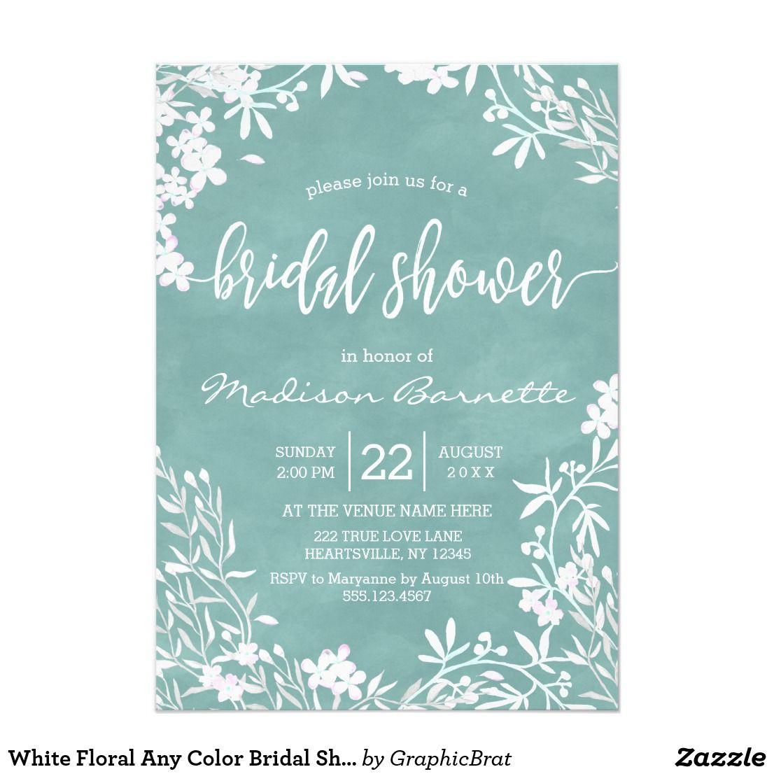 White Floral Any Color Bridal Shower Invitation Zazzle