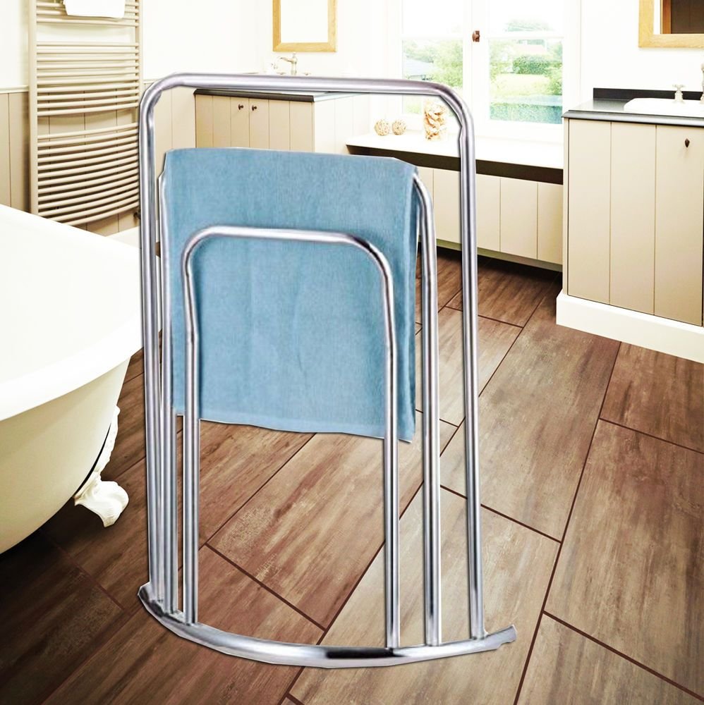 Chrome 3 tier bathroom towel rail stand holder floor free standing ...