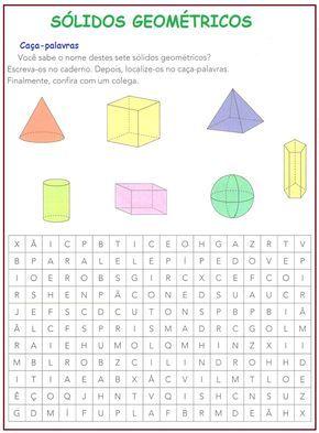 Solidos Geometricos Sala De Aula Profª Rerida Atividades De
