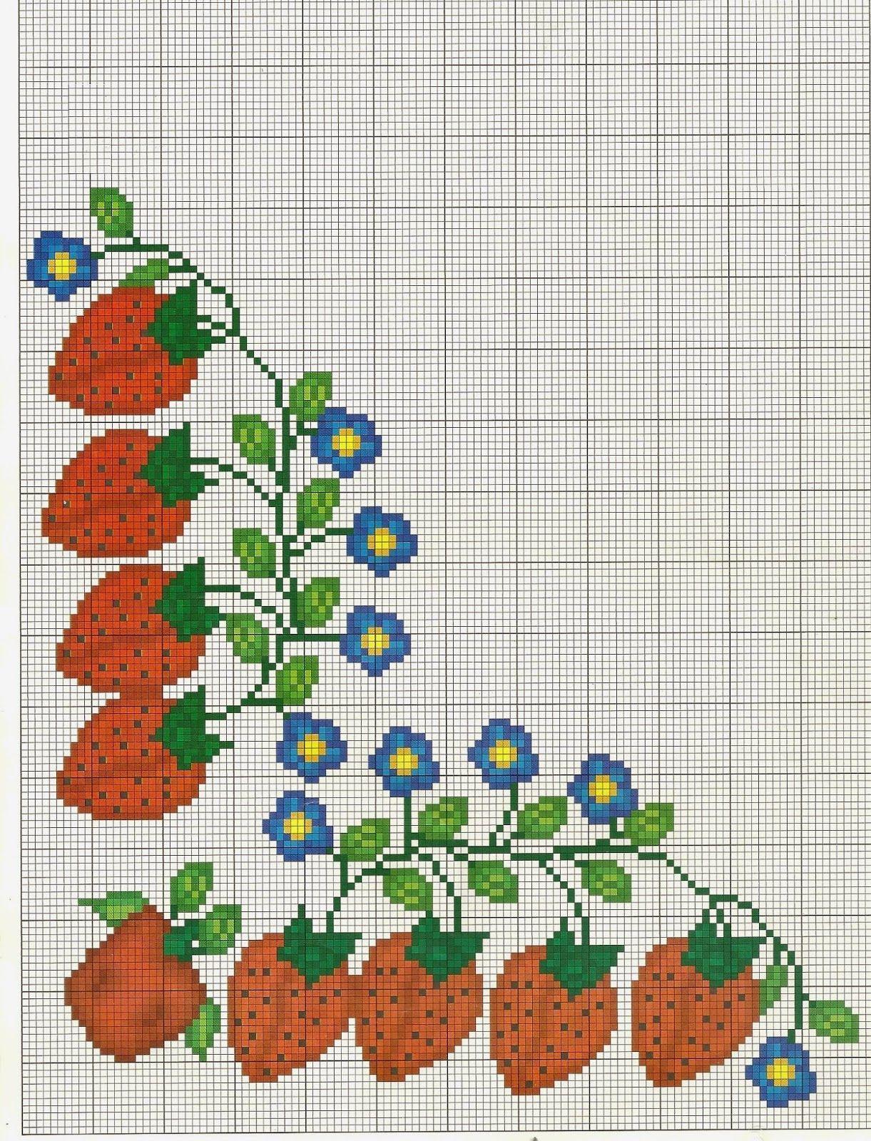 Costuras stephany patrones de flores de punto de cruz - Manteles de punto de cruz ...