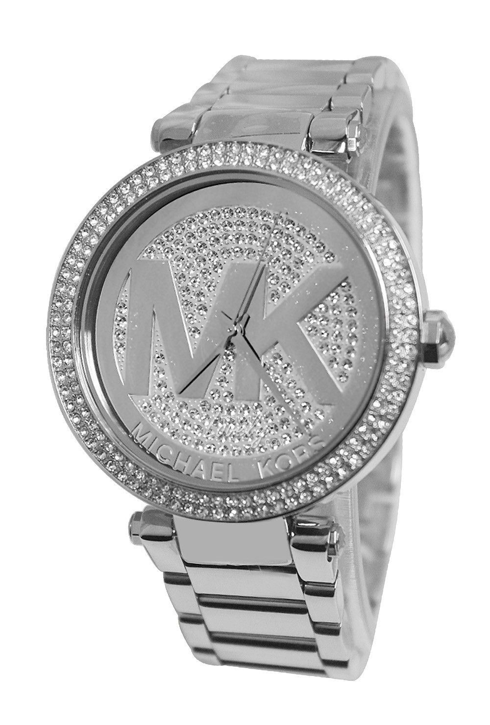 0146d574d462 นาฬิกาผู้หญิง Michael Kors MK5925 Parker Silver Crystal Pave Dial Stainless  Steel